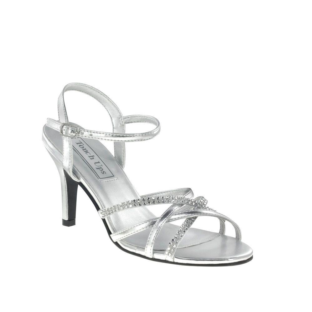 Silver Rhinestone Strappy Low Heels Womens Bridal Wedding Shoes (Y4J1)