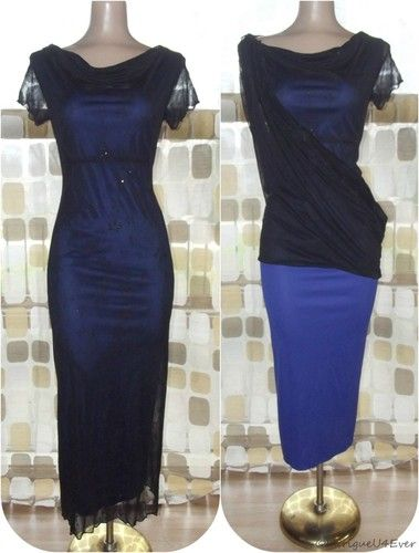 $49.99 Vintage 90s Sexy Black & Blue Sheer Illusion BOMBSHELL Party Cocktail Dress GOTH