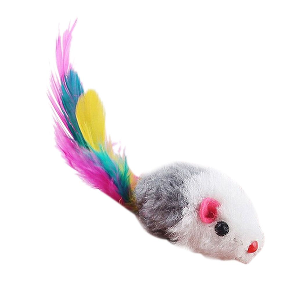 1510x Fleece False Mouse Cat Toys Colorful Feather Playing Toys 5 cm3cmch 075