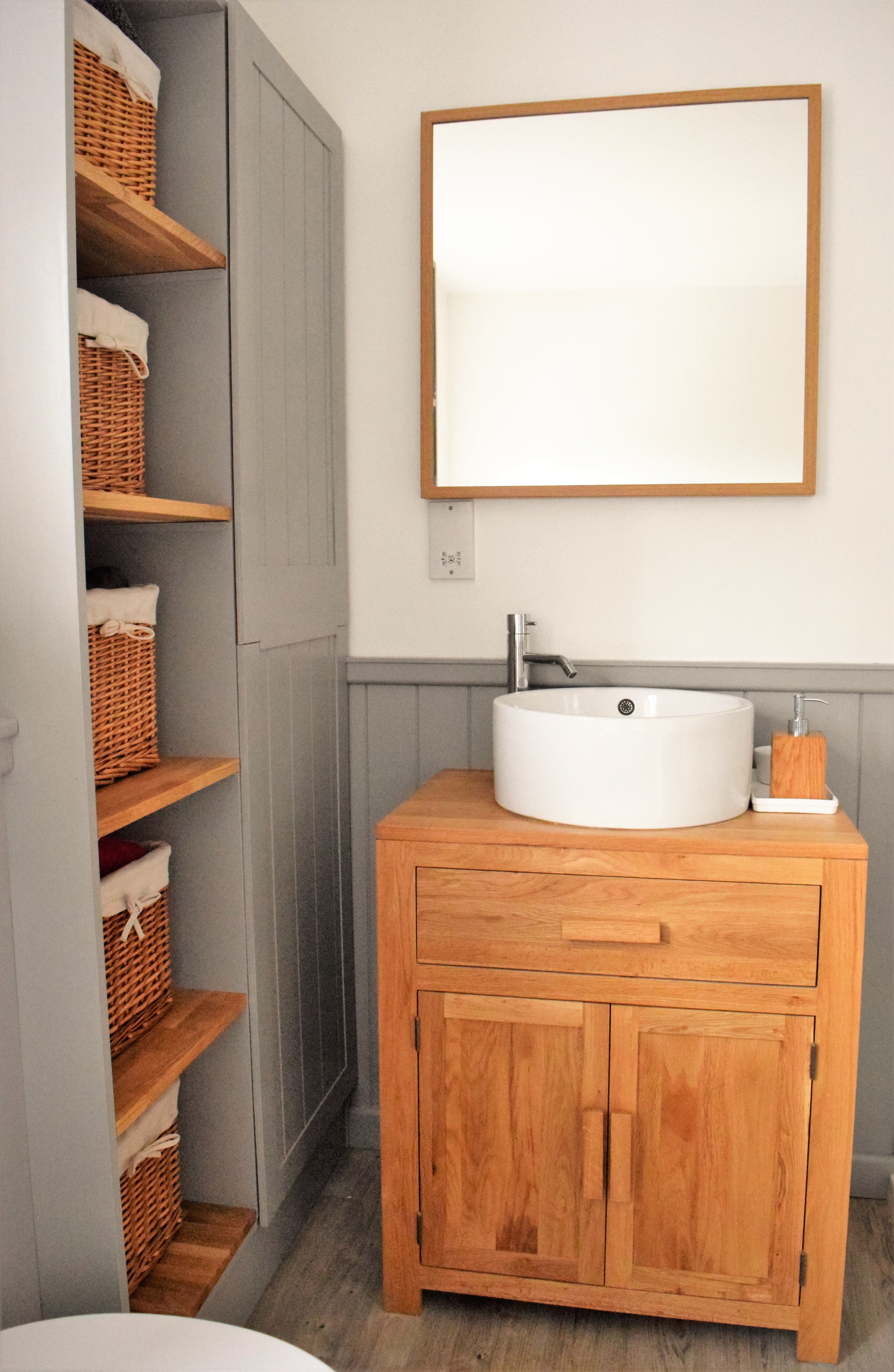 Oak Cabinet With Ceramic Basin And Homemade Bathroom Shelves Cupboard To Hide The Boiler Grey Tong Small Downstairs Toilet Bathroom Cupboards Small Bathroom