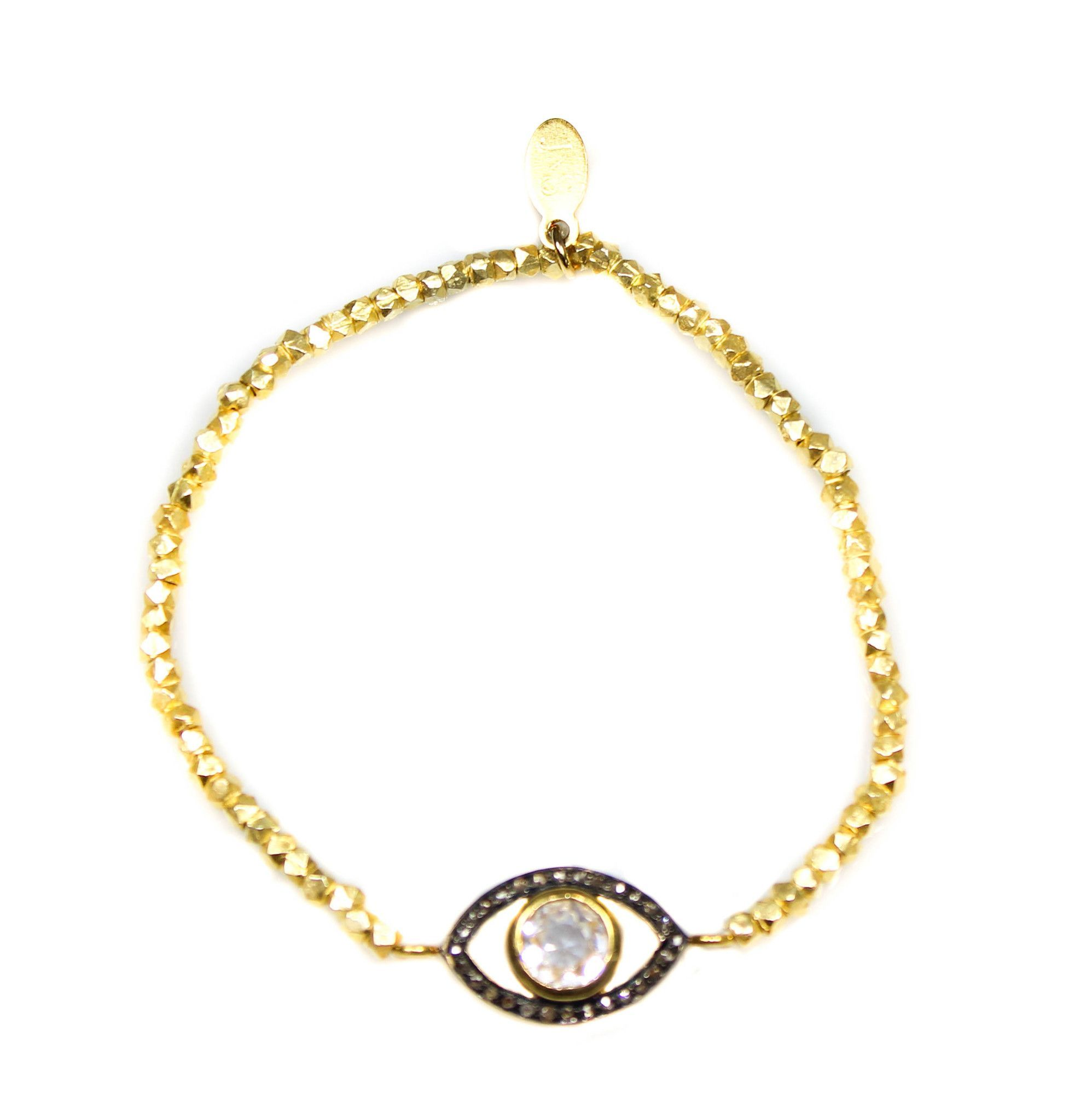 Diamond Evil Eye Bracelet White Topaz