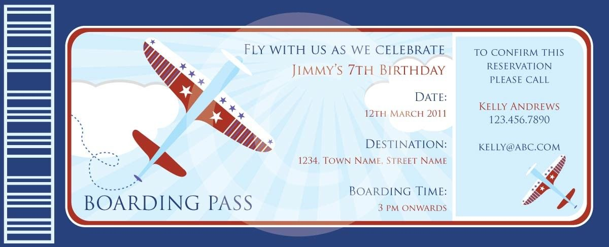 boarding pass airplanes invitation diy printable for baby