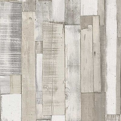 New Rasch Wood Board Panel Embossed Textured Wallpaper White