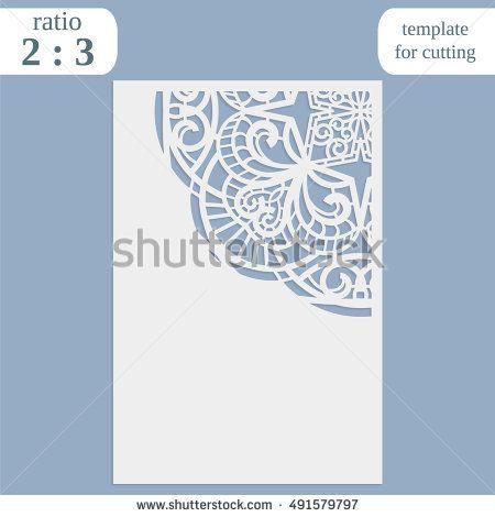 Laser cut wedding card template, paper openwork greeting card, lace - greeting card template