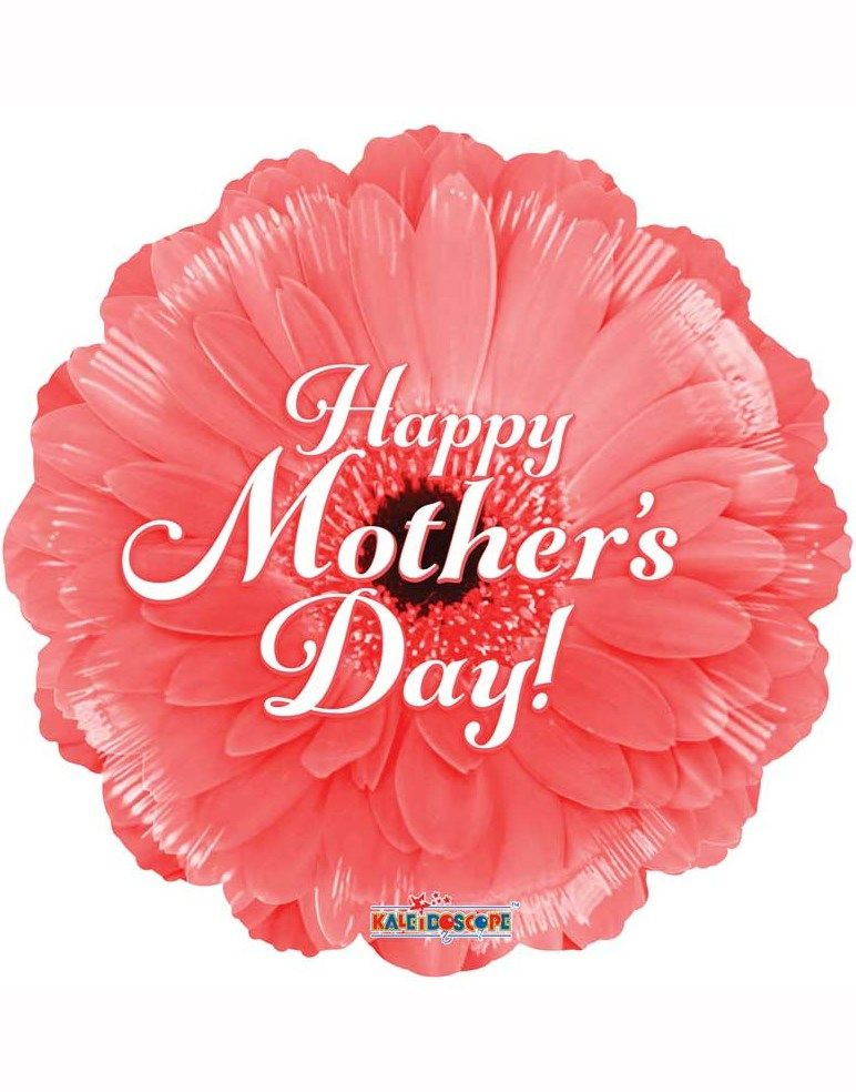 Happy Mother S Day Coral Gerbera 18 Foil Balloon Happy Mothers Day Mothers Day Balloons Pink Gerbera