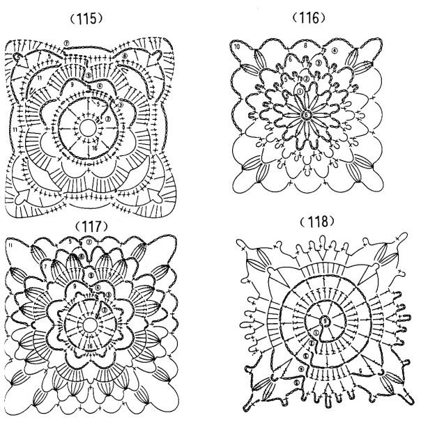 motifs 115 à 118. | carré crochet | Pinterest | Dibujo de flores ...