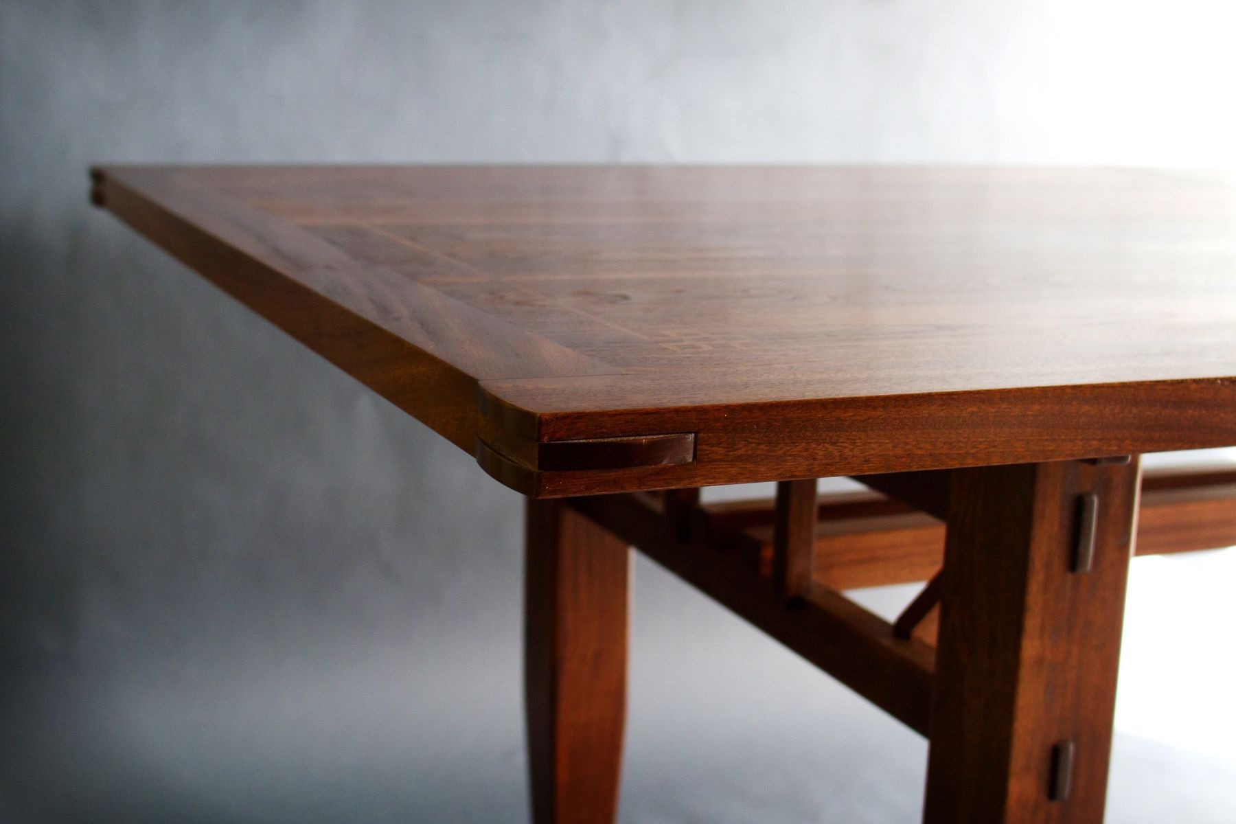 Custom Made Walnut And Sapele Dining Table joinery