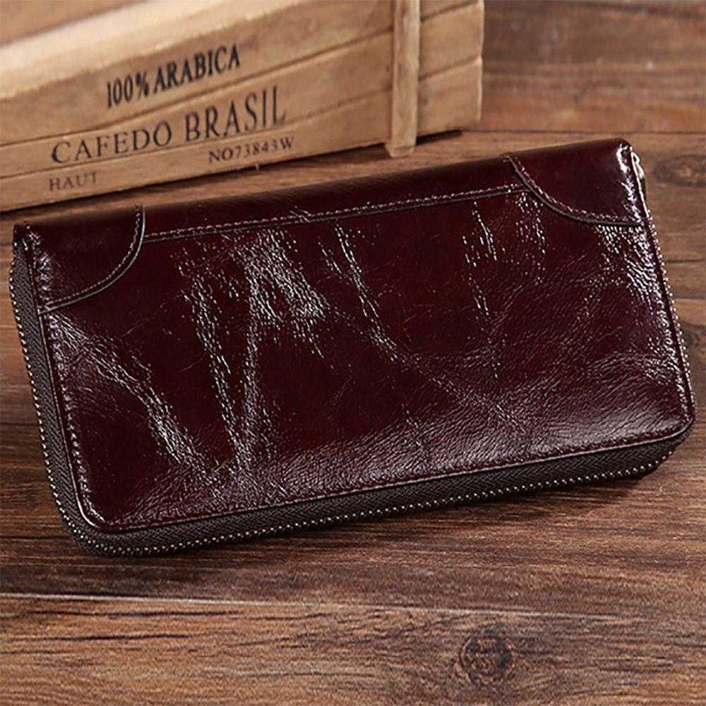 Oil Wax Cowhide Genuine Leather Men Long Wallet Solid Pocket Card ...