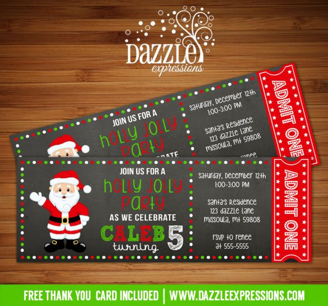 Printable Santa Chalkboard Ticket Birthday Invitation Christmas - christmas party ticket template free