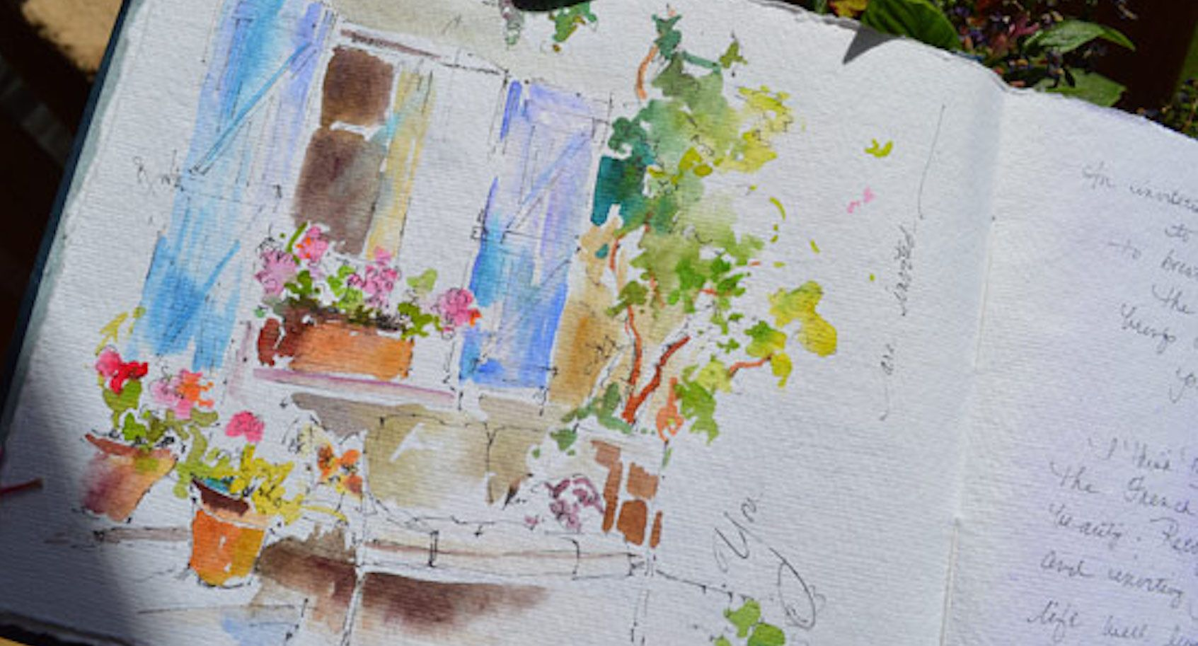 Blue Window In France Watercolor Journal By Dreama Tolle Perry