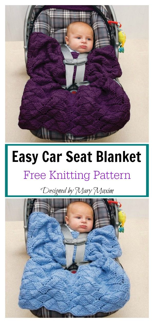 Easy Car Seat Blanket Free Knitting Pattern #babyknittingpatterns