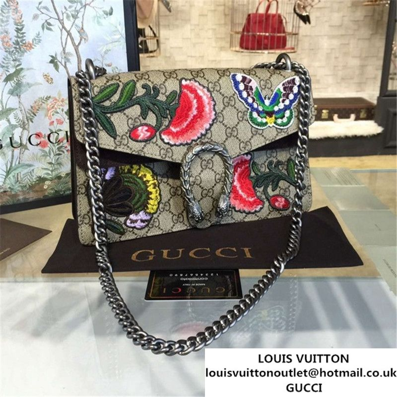 5fe7eff81 Gucci Dionysus GG Supreme Canvas Butterfly and Flowers Embroidery Medium  Shoulder Bag Fall Winter 2016 Collection Brown Suede Beige