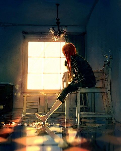 Tags: Anime, Wenqing Yan, Fisheye Placebo, Robin Soloviev, Lonely, Checkered Floor, Reflection
