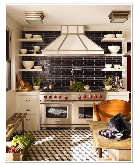 Black And Gold Kitchen: Tile Floor, Navy Backsplash. Black, White, Red And Gold
