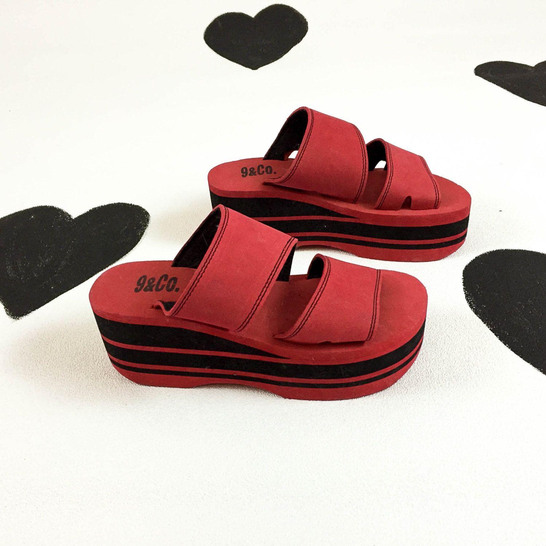 90s Red and Black Foam Platform Sandals