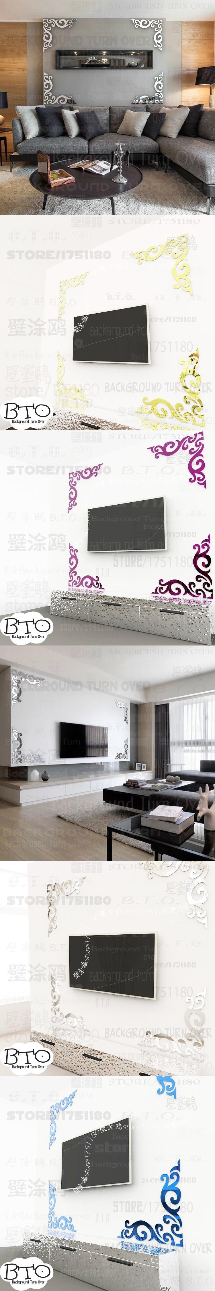 New design vintage diagonal frame pattern TV backdrop mirror wall ...