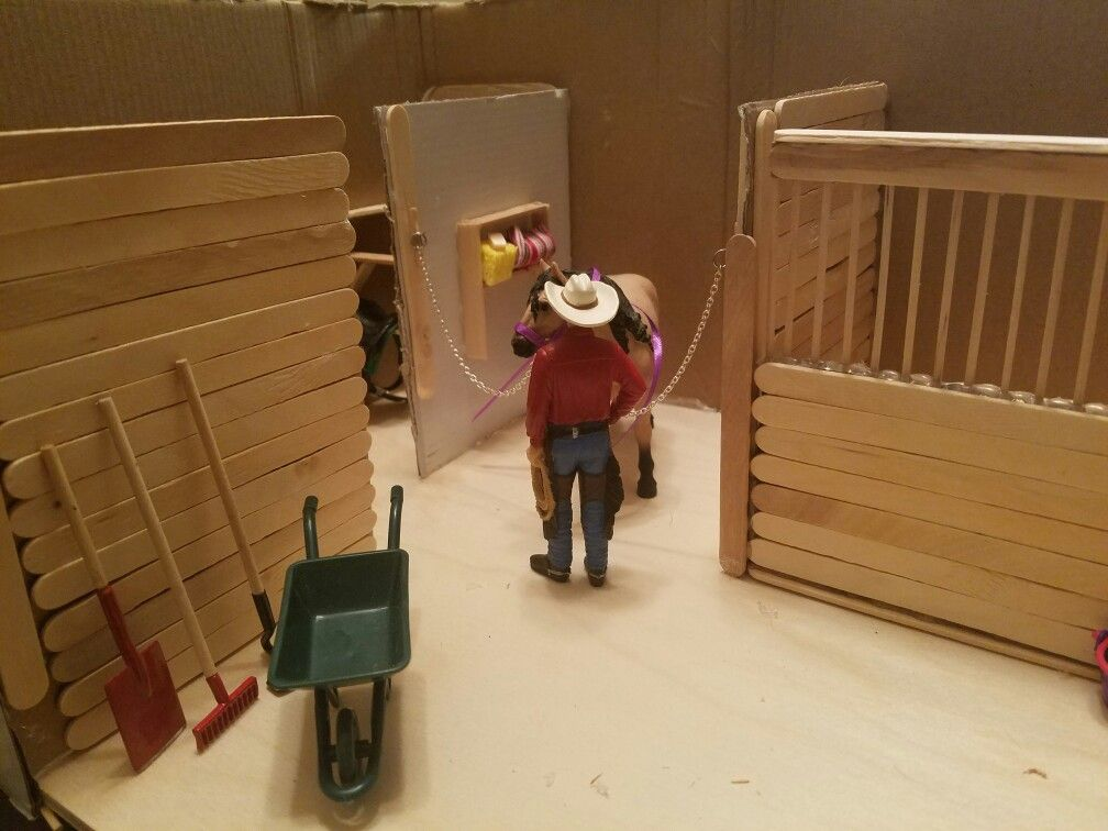 Model Horse Stable Made From Popciscle Sticks And