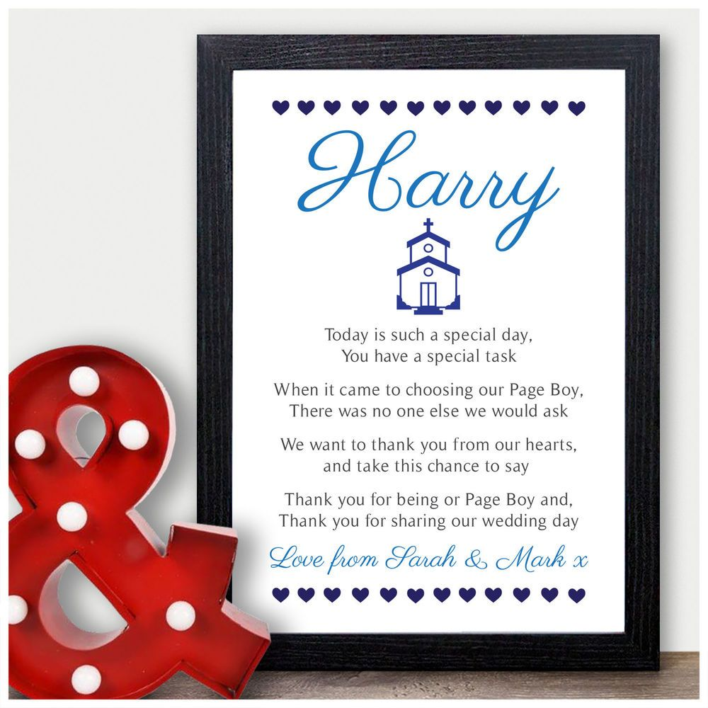 Wedding Gifts For Ushers And Best Man: Details About Personalised Page Boy Thank You Poem