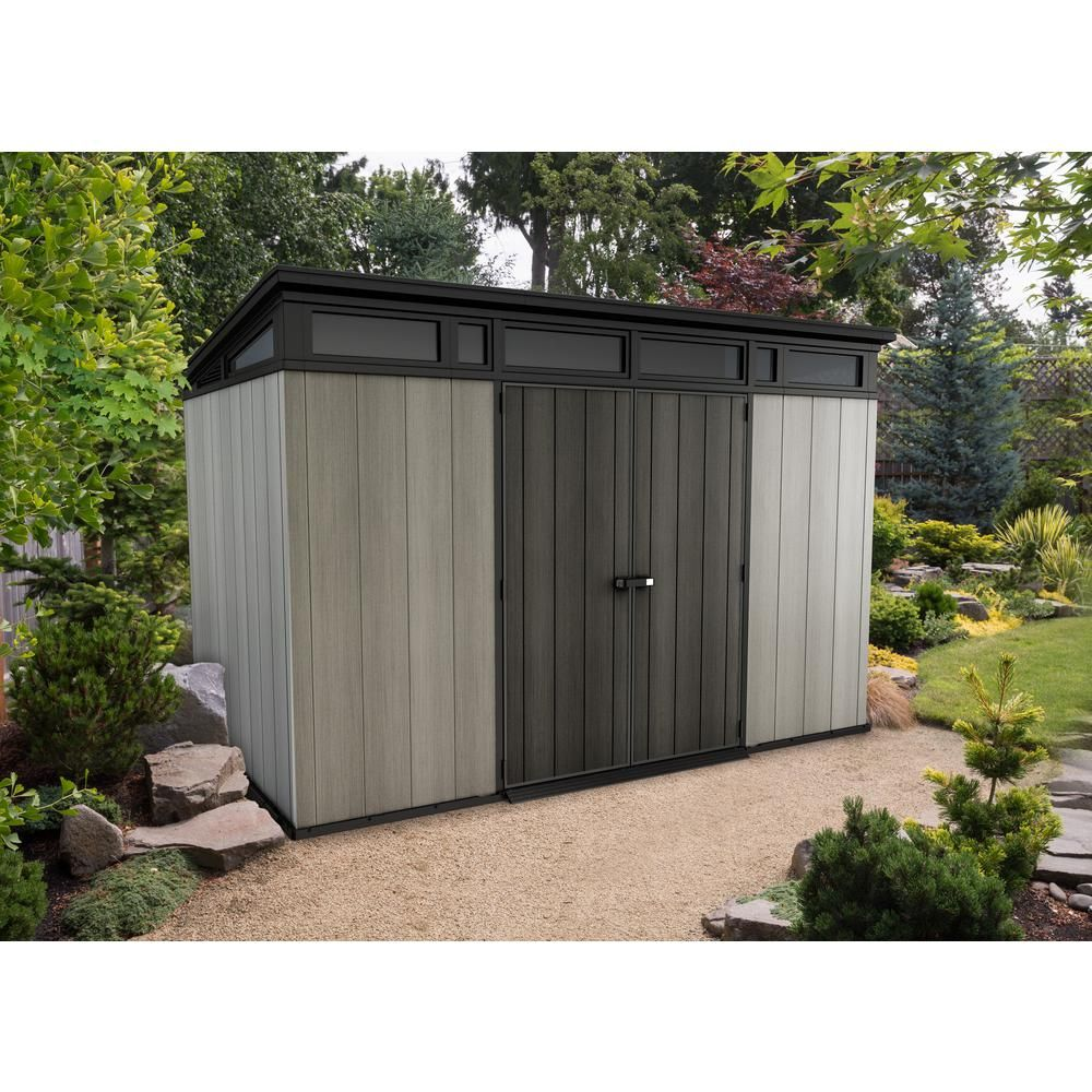 Keter Artisan 11 Ft X 7 Ft Resin Storage Shed 241735 The Home Depot In 2020 Backyard Storage Sheds Backyard Storage Shed Design