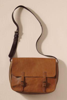 Women S Vintage Leather Messenger Bag From Lands End Canvas