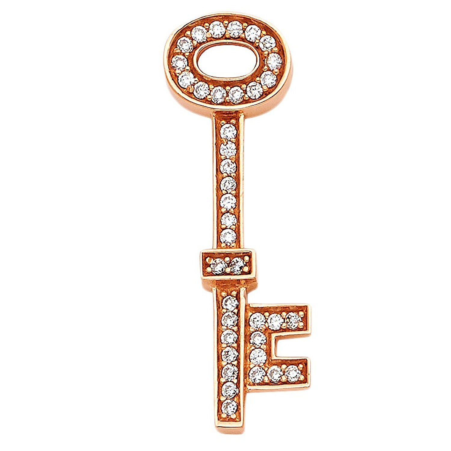 Ioka 14K Yellow Gold Peace Sign Cubic Zirconia CZ Charm Pendant For Necklace or Chain