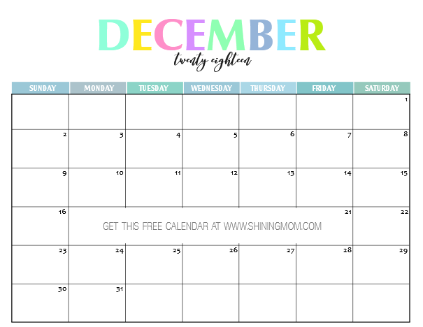 Free Printable  Calendar Pretty And Colorful  Free