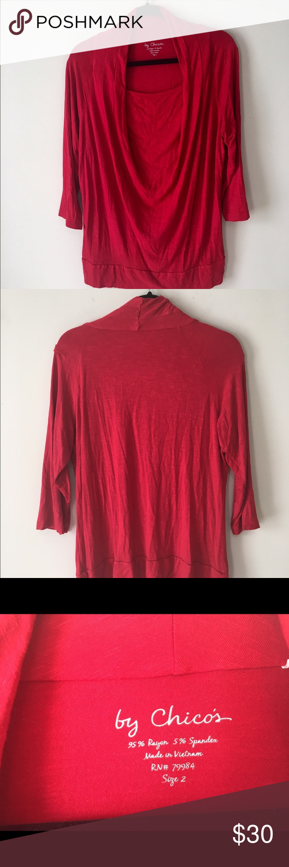CHICO's 3/4 Sleeve Top Sz 2 In pristine condition Chico's Tops Blouses