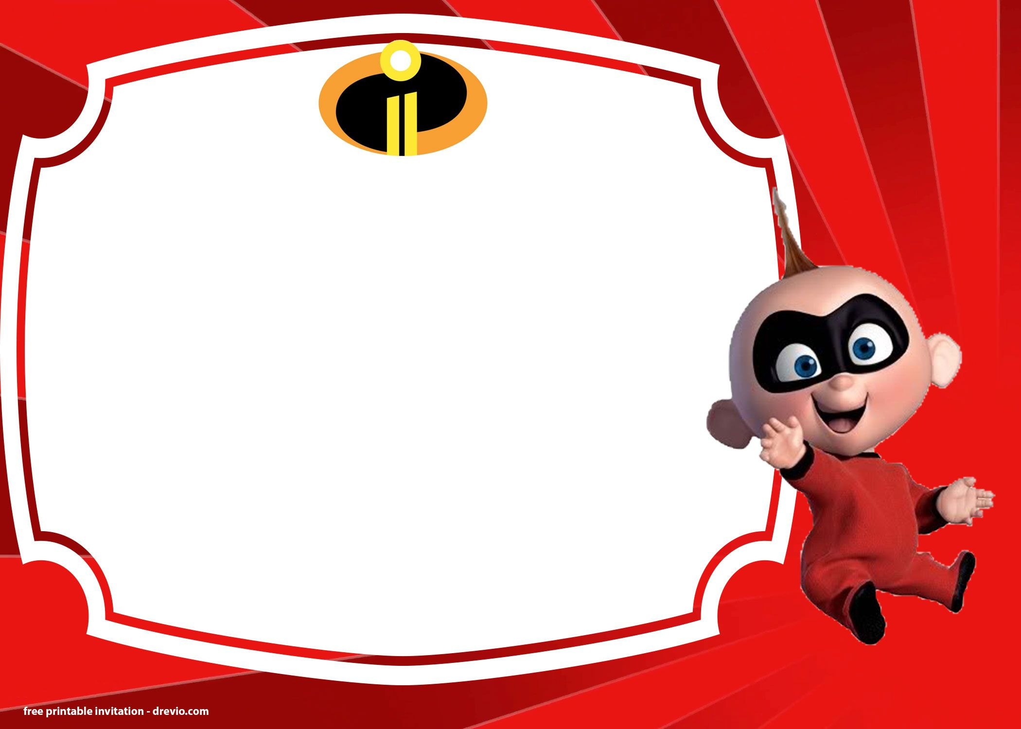 Free The Incredibles 2 Birthday Invitations Templates