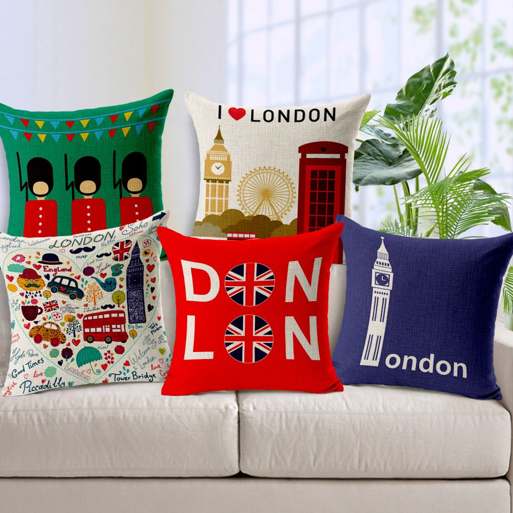 London Pillow Cover Creative Cartoon Union Jack London Impression Big Ben Telephone Booth Throw Pil Pillows Decorative Pillow Covers Patterned Linens