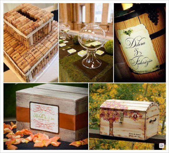 Mariage automne urne caisse tonneau bocal bouchon liege - Decoration caisse en bois ...