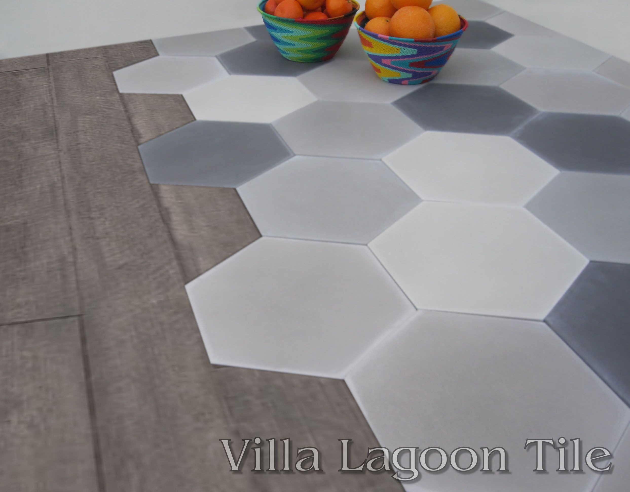 Mixed gray hexagonal tile and hardwood flooring home ideas hexagon floor tile dailygadgetfo Images