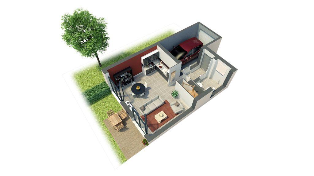 Axonométrie du RDC du0027une maison issue du0027un programme immobilier neuf