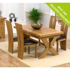 Avignon Oak Furniture 160cm Extending Dining Table & Arizona Set