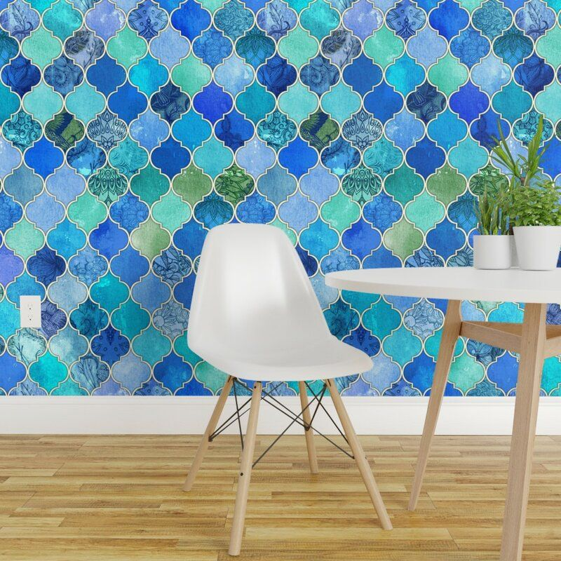 Highland Dunes Andrei Ogee Removable Peel And Stick Wallpaper Panel Reviews Wayfair Moroccan Wallpaper Quatrefoil Wallpaper Wallpaper Panels
