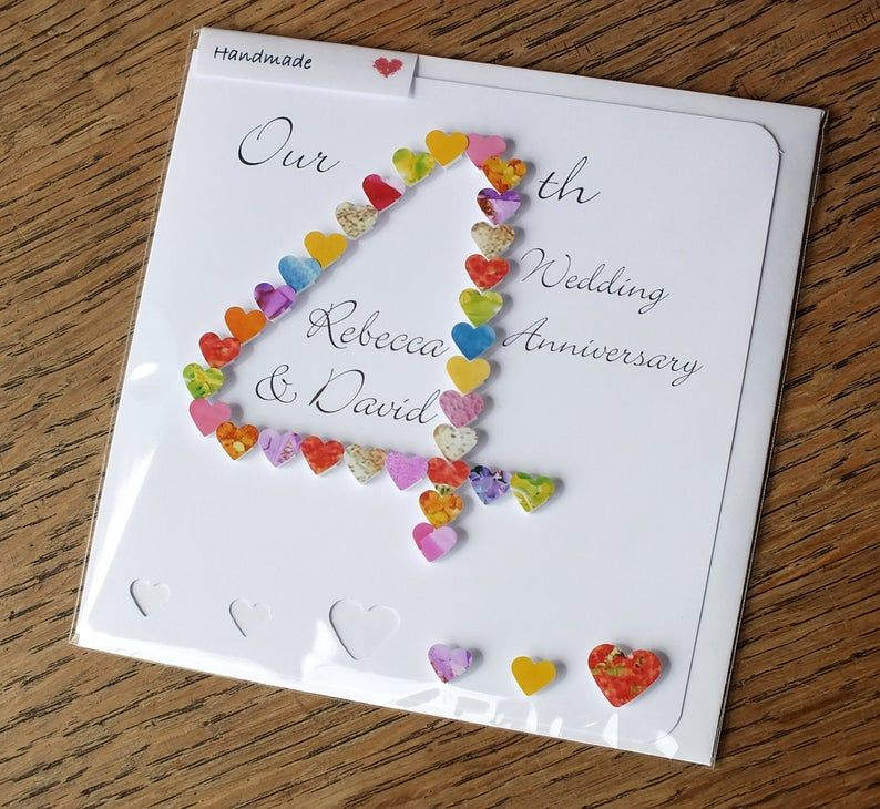 4th wedding anniversary card handmade personalised