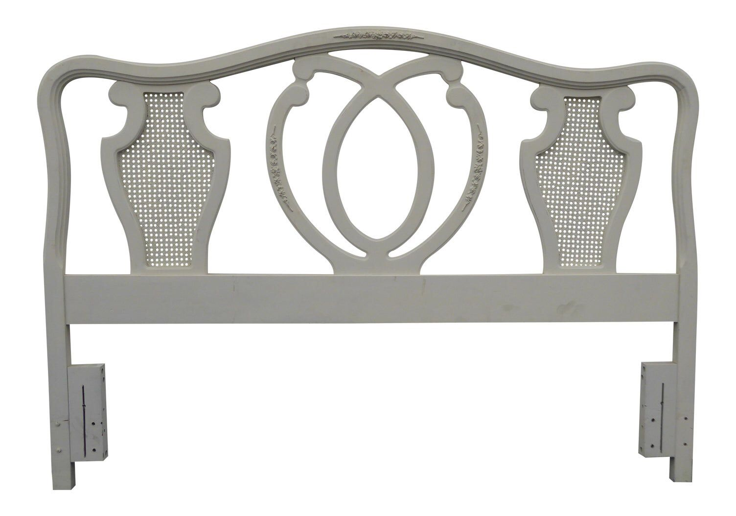 Vintage White Chic Shabby French Country Queen Headboard W Cane