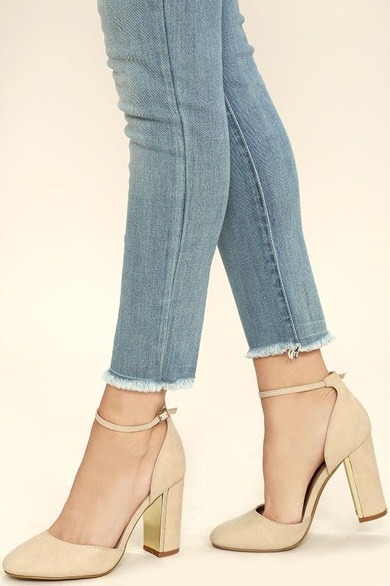 fc4f41f0f463 Everyone loves the Laura Nude Suede Ankle Strap Heels with their trendy vegan  suede design