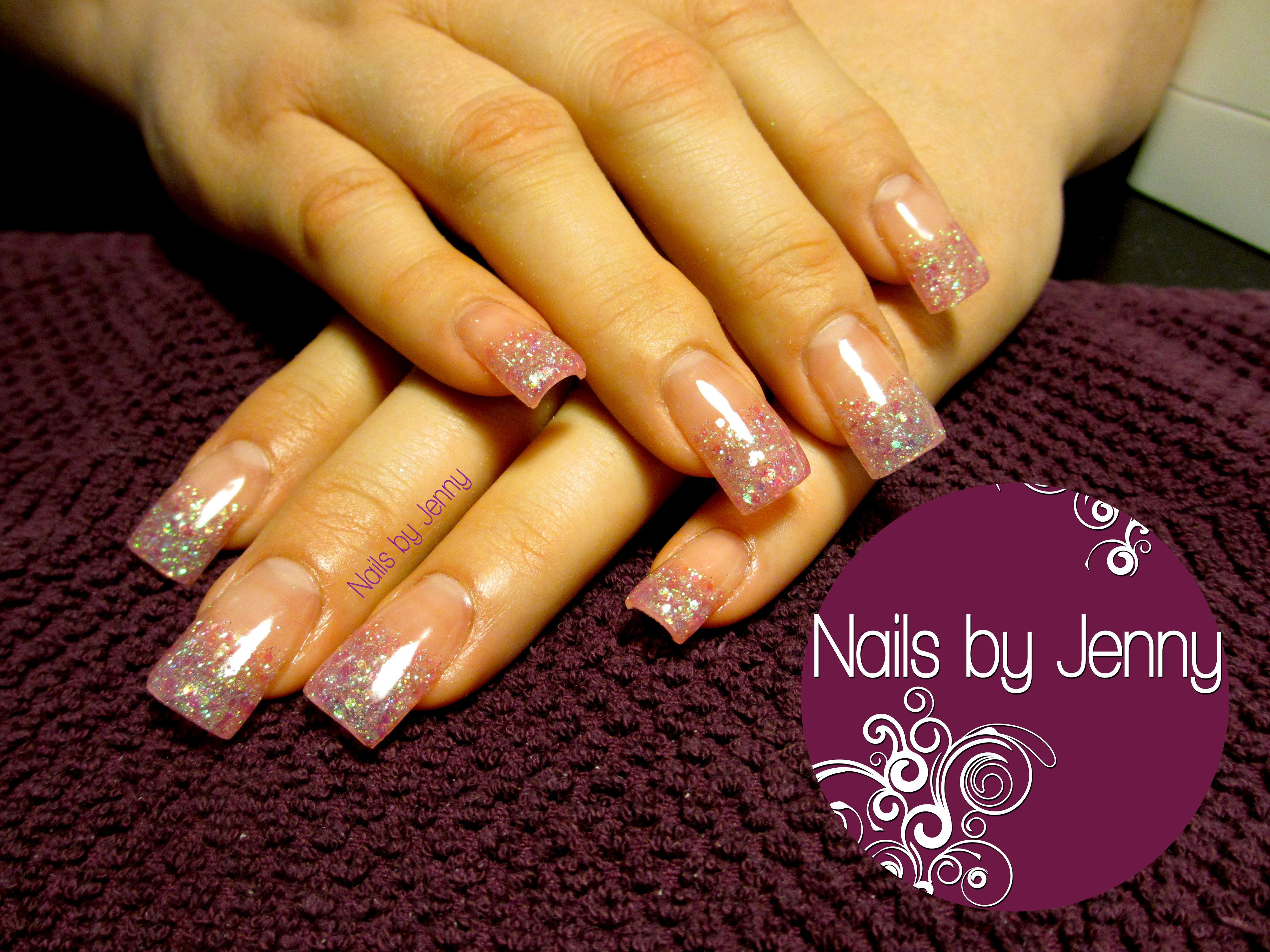 Full Set of Gel Nails with Clear Glitter Tips -- Nails by Jenny in ...