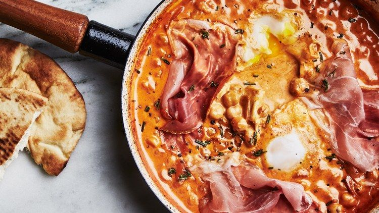 One Skillet Creamy Chickpeas With Eggs And Prosciutto Recipe