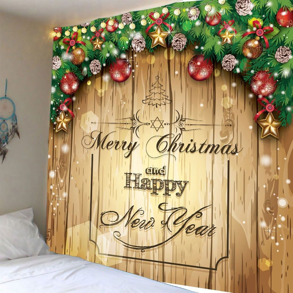 Waterproof Christmas Wooden Door Pattern Wall Hanging Tapestry ...