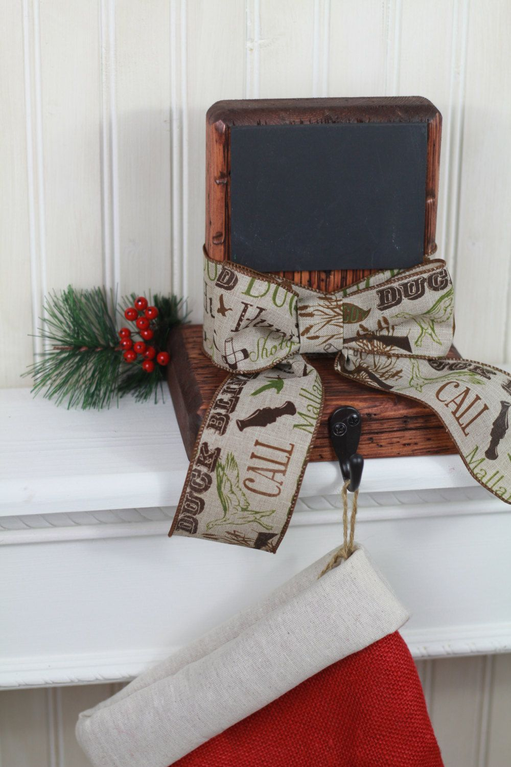 rustic christmas stocking holder w/duck hunting ribbon,holiday