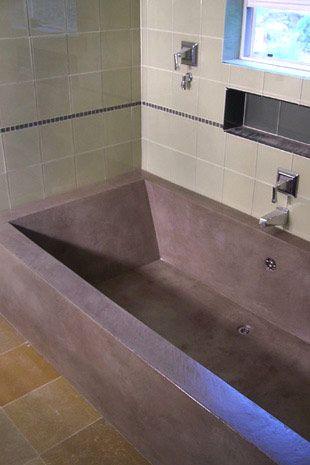 A Concrete Bathtub That I Think Is Beautiful Concrete Bathtub Concrete Bathroom Bathroom Inspiration