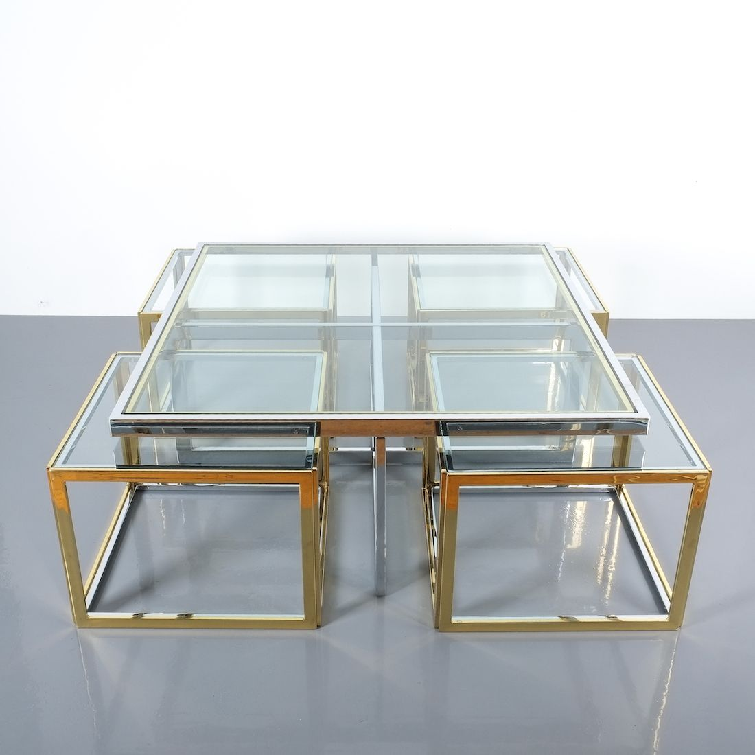 Maison Charles Square Segment Bicolor Brass Glass Coffee Table France 1975 [ 1100 x 1100 Pixel ]