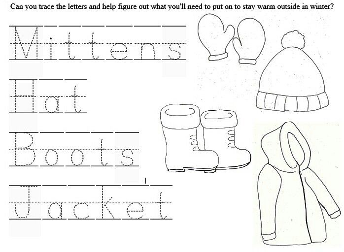 Free Winter wear color page/word tracer #jacket #gloves #tracing