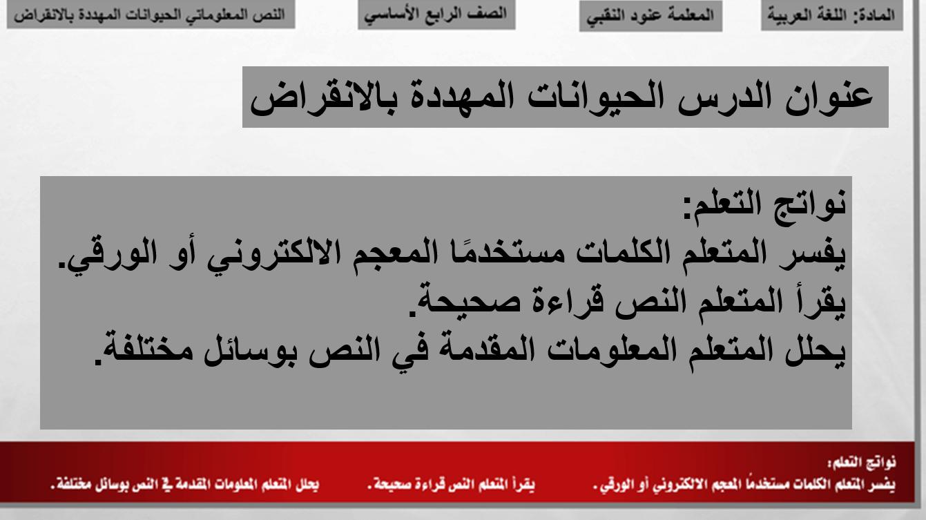 بوربوينت الحيوانات المهددة بالانقراض للصف الرابع مادة اللغة العربية Stuff To Buy
