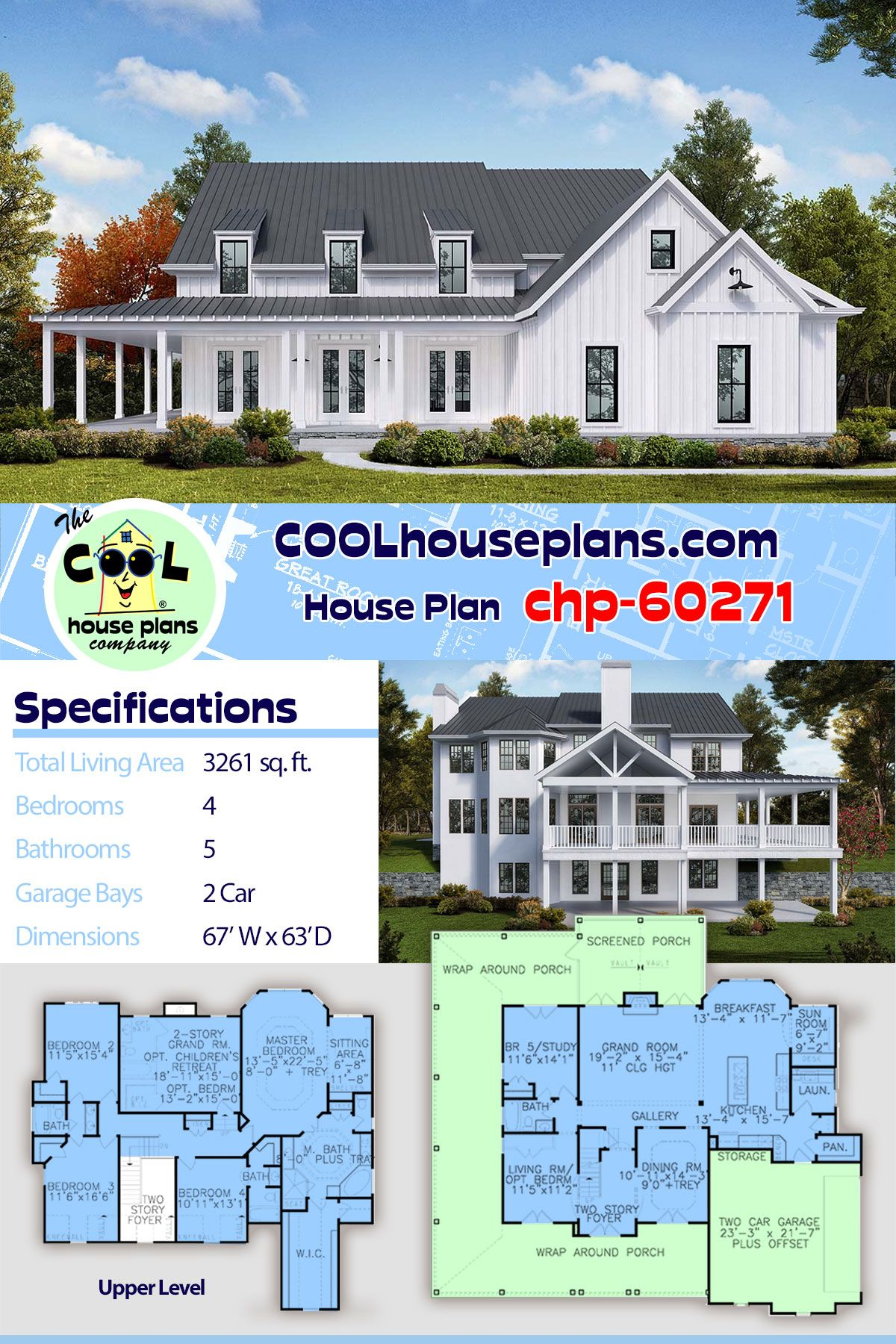 Southern Style House Plan 97654 With 4 Bed 5 Bath 2 Car Garage Farmhouse Plans House Plans Farmhouse Style Kitchen Decor