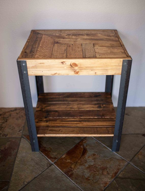 pallet wood side table with metal legs and lower shelf. Black Bedroom Furniture Sets. Home Design Ideas