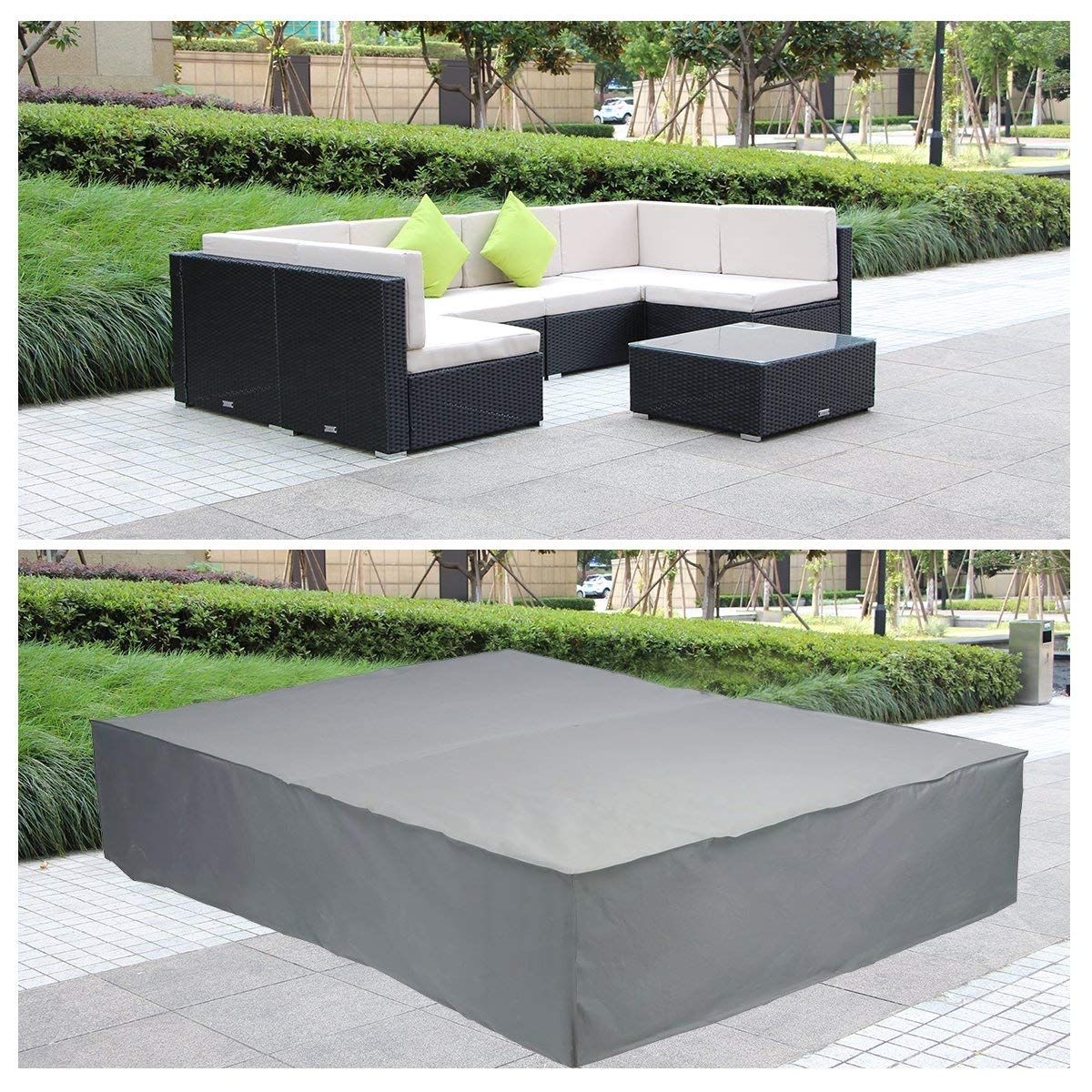 Umax Extra Large Rectangular Table Patio Furniture Covers Rattan Furniture Covers For Outdoor 7 Pcs Furniture Patio In 2020 Patio Table Patio Outdoor Furniture Covers