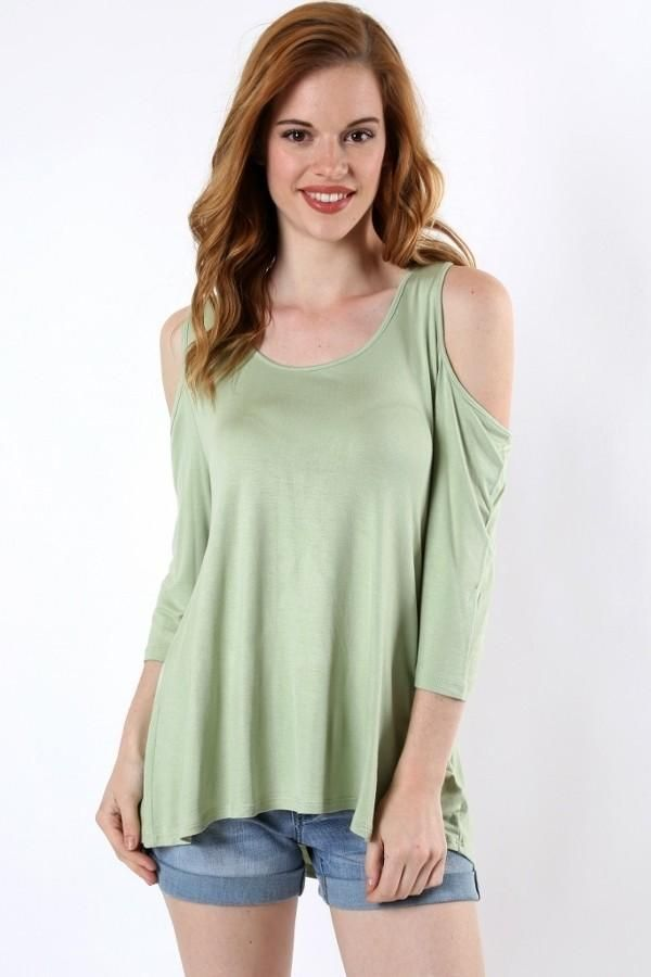a76bc1e36feff Tunic Top for Women Juniors Open Shoulder Green Shirt MomMeAndMore.com –  MomMe and More