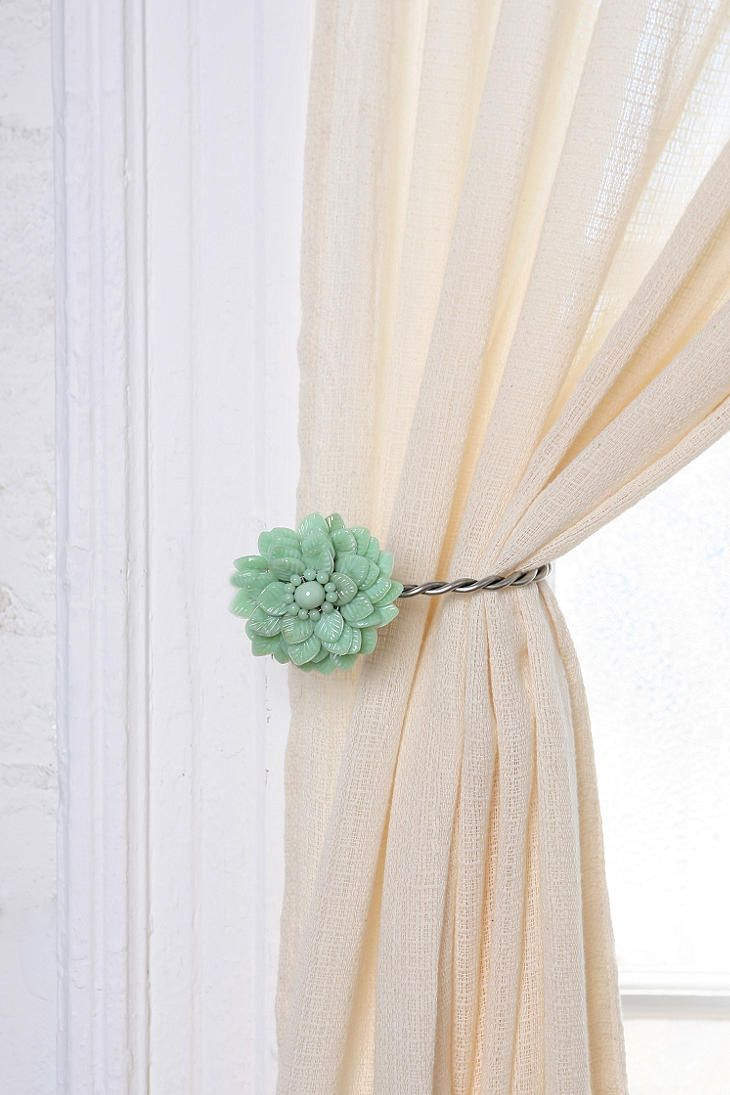 Antique Brooch Mint Colored Curtain Tie Back Curtains Simple